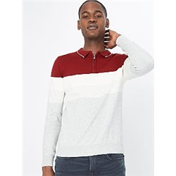 Red Colour Block Long Sleeve Polo Jumper