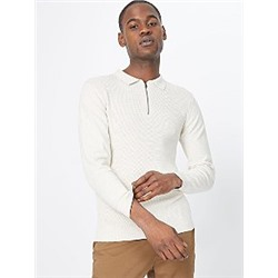 Stone Textured Zip Neck Polo Jumper