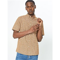 Light Brown Abstract Floral Print Short Sleeve Shirt