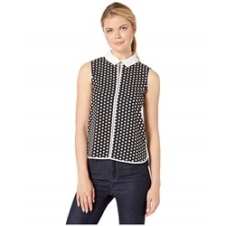 Tommy Hilfiger, Polka Dot Collared Piped Sleeveless Woven Top