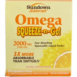 Sundown Naturals, Omega Squeeze-n-Go!, Natural Orange Flavor, 2000 mg, 30 Squeeze Packs, 0.08 oz (2.5 g) Each