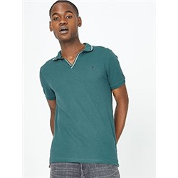 Green Embroidered Detail Polo Shirt