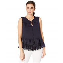 Tommy Hilfiger, Ruffled Tie Neck Sleeveless Woven