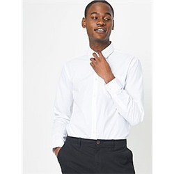 White Slim Fit Long Sleeve Shirts 5 Pack