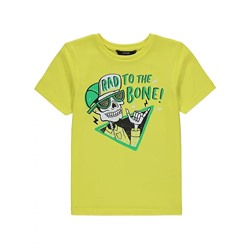 Yellow Skeleton Slogan Print T-Shirt