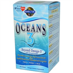Garden of Life, Oceans 3, Beyond Omega-3 с OmegaXanthin, 60 капсул