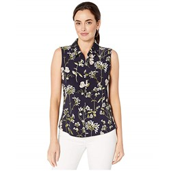 Tommy Hilfiger, Floral Logo Zip Sleeveless Knit Top