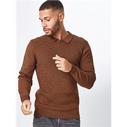 Chocolate Brown Knitted Long Sleeve Zip Neck Polo Shirt