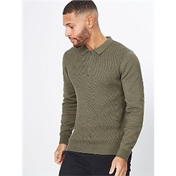 Brown Knitted Long Sleeve Zip Neck Polo Shirt